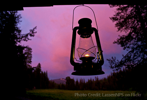Oil Lamp at Sunset